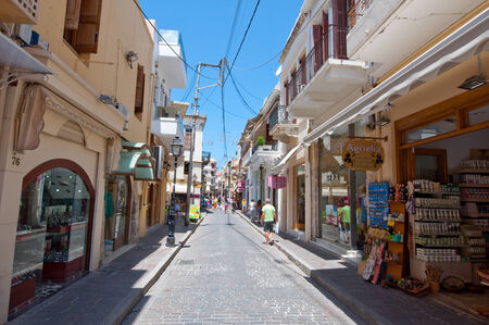 rethymno: CRETE,RETHYMNO-JULY 23:Shopping Arkadiou busy street on July 23,2014 in Rethymnon city on the island of Crete, Greece. Arkadiou Street is one of the most important shopping centres in Rethymnon.