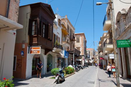 rethymno: CRETE,RETHYMNO-JULY 23:Shopping Arkadiou street on July 23,2014 in Rethymnon city on the island of Crete, Greece. Arkadiou Street is the shopping centre in Rethymnon