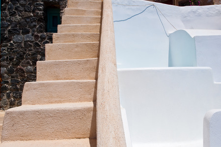 thera: Detail of architecture in Oia town on the island of Santorini (Thera) in Greece.