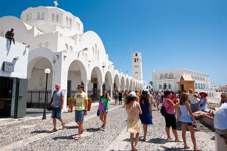 SANTORINI,FIRA-JULY 28: Fira cathedral on July 28,2014 in Fira town on Santorini, Greece. Fira is the modern capital of the Greek Aegean island, Santorini.