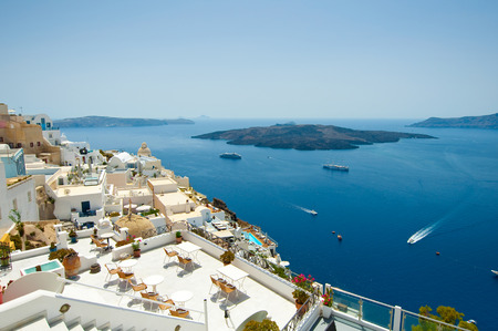 Detail of Fira cityscape on the island of Thera(Santorini), Greece. photo