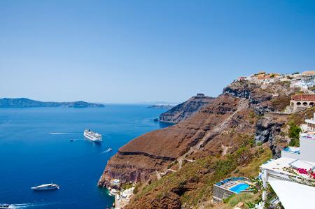 thira: Fira landscape and skyline on the edge of caldera. Thira (Santorini), Greece.