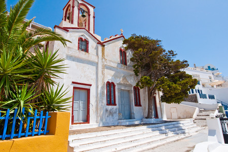 thera: Orthodox church in the capital of Thera also known as Santorini, Fira, Greece.
