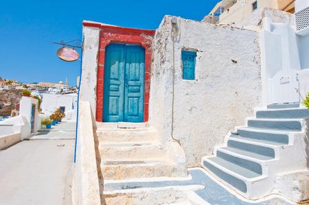 thera: Fira architecture on the island of Thera (Santorini) in Greece.