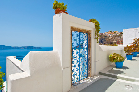 thira: Fira architecture on the island of Thira (Santorini). Greece. Stock Photo
