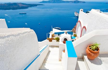Steps down to the Idyllic patio in Fira on the island of Thera(Santorini), Greece. photo