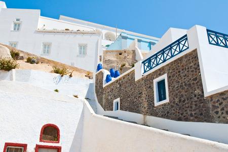 thira: Fira cosy street on the island of Thira (Santorini), Greece.