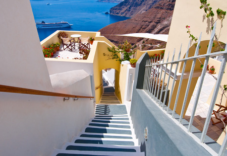The stairs leading to the port in Fira town on the island of Santorini, Greece. photo