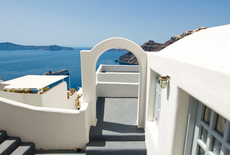 caved: Etrance to the caved house with patio in Fira town on the Santorini (Thira) island in Greece.