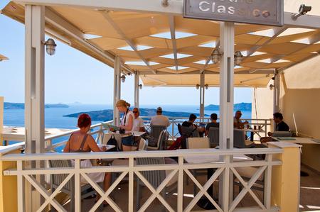 SANTORINI,FIRA-JULY 28: Local restaurant with volcano view on July 28,2014 in Fira town on the Santorini island, Greece. Fir? is the modern capital of the Greek Aegean island, Santorini.