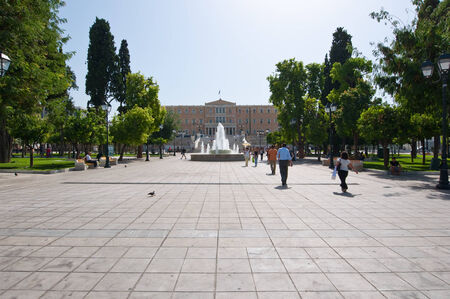 syntagma: ATHENS-AUGUST 22: Syntagma Square and Parliament building on August 22, 2014 in Athens, Greece. Editorial