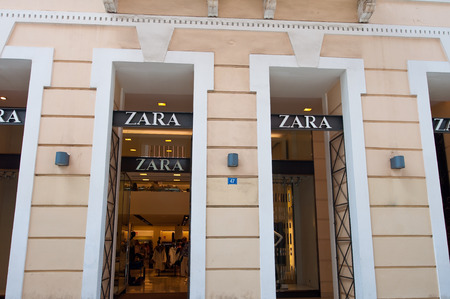 ATHENS-AUGUST 22: Zara store building on Emrou street on August 22,2014 Athens, Greece. Zara is a Spanish clothing and accessories retailer based in Arteixo, Galicia, Spain.