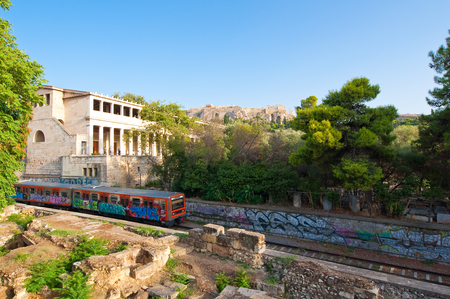 ATHENS-AUGUST 22: Acropolis of Athens and Athenian subway on August 22, 2014 in Athens, Greece.