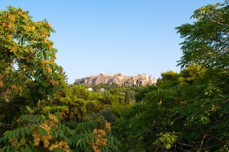 Lycabettus pine covered hill  from Filopappos Hill in Athens, Greece. photo
