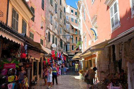kerkyra: CORFU-AUGUST 24: Shopping street on Corfu island on August 24,2014 in Kerkyra town, Greece. Corfu  is a Greek island in the Ionian Sea. Editorial