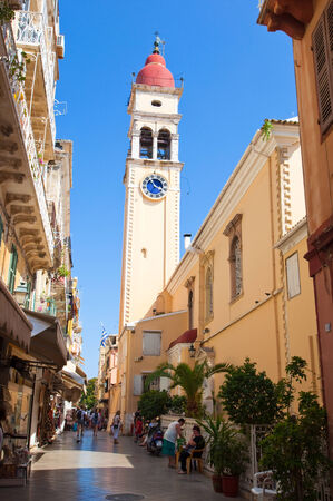 CORFU-AUGUST 24: The bell tower of the Saint Spyridon Church in Kerkyra on August 24,2013 on Corfu island, Greece. The Saint Spyridon Church is a Greek Orthodox church located in Corfu, Greece.