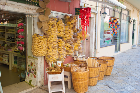 kerkyra: CORFU-AUGUST 22: Traditional Greek goods displayed for sale on Corfu island on August 22, 2014 in Kerkyra, Greece.