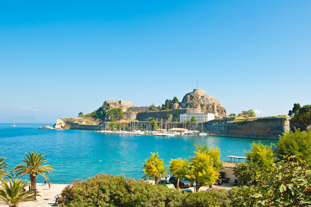 The Old Fortress of Corfu seen from the shore. Greece