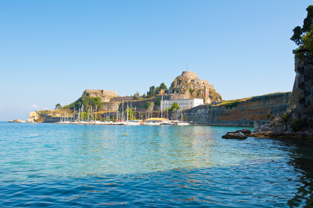 kerkyra: View of the Old Fortress of Corfu in the midday, Greece.