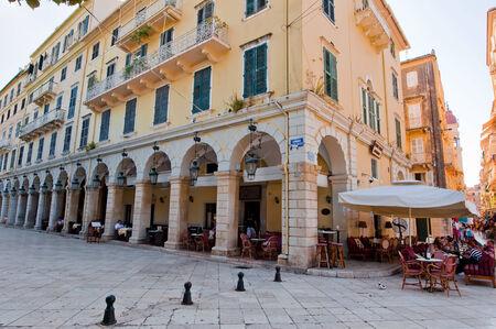 kerkyra: CORFU-AUGUST 22: Venetian Kerkyra city with the row of local restaurants on August 22, 2014 on Corfu island, Greece. Editorial