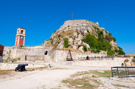 South side of the Old Fortress with the Venetian clock tower. Corfu island, Greece.