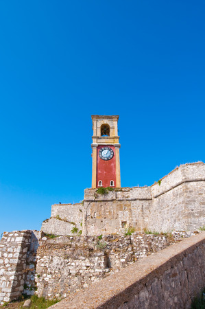 ionian island: The clock tower on the top of the Old Fortress of Corfu. Greece. Editorial