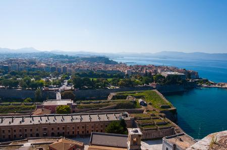 kerkyra: Panorama of  Kerkyra from the Old Fortress. Corfu island in Greece.