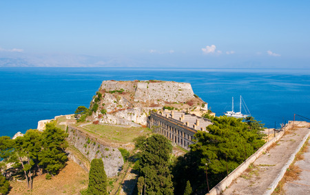 The east side of the Old Fortress. Corfu island, Greece.