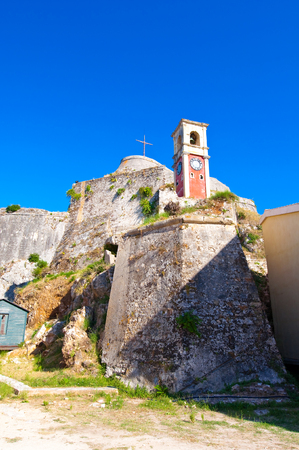 The clock-tower inside of the Old Fortress of Corfu. Greece. photo