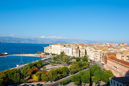 CORFU-AUGUST 22: Aerial view of Corfu city from the New Fortress on August 22, 2014 on Corfu island, Greece. photo