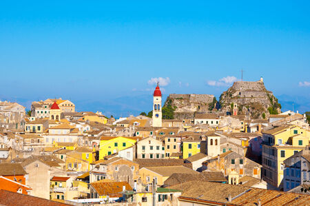 CORFU-AUGUST 22: View of Corfu old town with Saint Spyridon Church and the Old Fortress from the New Fortress on August 22, 2014 on Corfu island, Greece. photo
