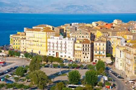 CORFU-AUGUST 22: Corfu cityscape with the Venetian quarter, from the New Fortress on August 22, 2014 on Corfu island, Greece. photo