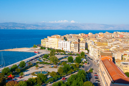 CORFU-AUGUST 22: Panoramic view of Corfu cityscape seen from the New Fortress on August 22, 2014 on Corfu island, Greece. photo