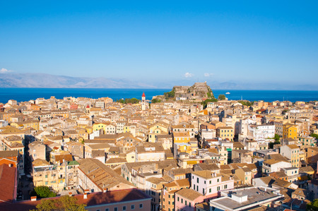 CORFU-AUGUST 22: Panoramic view of Corfu city from the New Fortress on August 22, 2014 on Corfu island, Greece. photo