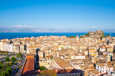 CORFU-AUGUST 22: Panoramic view of Corfu city from the New Fortress built on the hill of St. Mark on August 22, 2014 on Corfu island, Greece. photo