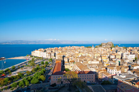 CORFU-AUGUST 22: Panoramic view of Corfu city as seen from the New Fortress on August 22, 2014 on Corfu island, Greece. photo