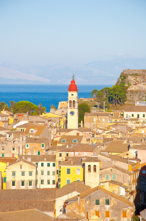 CORFU-AUGUST 22: Panoramic view of Corfu city and the bell tower of the Saint Spyridon Church from the New Fortress on August 22, 2014 on Corfu island, Greece. photo