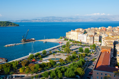 CORFU-AUGUST 22: Panoramic view of Corfu city and  the Venetian quarter as seen from the New Fortress on August 22, 2014 on Corfu island, Greece. photo