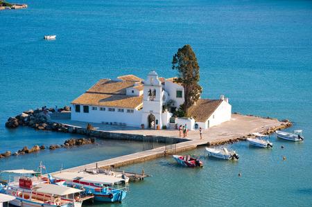 kerkyra: Vlacheraina Orthodox monastery in the midday on the island of Corfu, Greece. Editorial