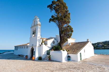 Facade of the Vlacheraina monastery on the island of Corfu, Greece. photo