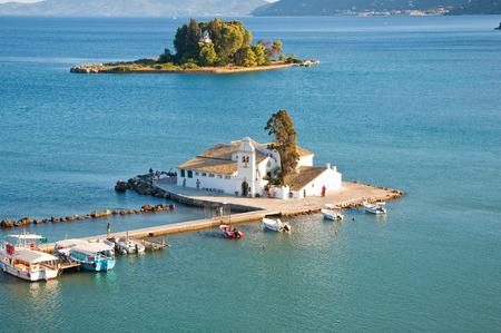 Panorama of Chalikiopoulou Lagoon with Pontikonisi and Vlacheraina monastery on the island of Corfu, Greece photo