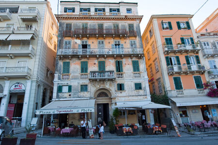 local 27: CORFU-AUGUST 27: Venetian Kerkyra city with the row of local restaurants on August 27, 2014 on Corfu island, Greece.