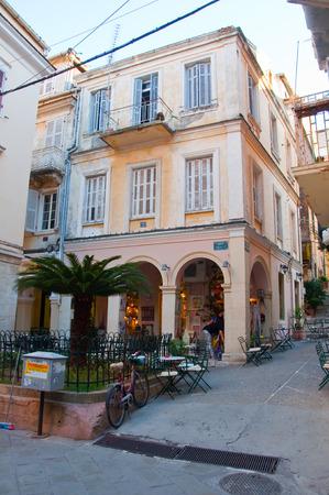 kerkyra: CORFU-AUGUST 27: Kerkyra shadow street in the old town on August 27, 2014 on the island of Corfu, Greece. Editorial