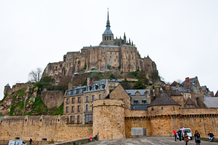 mount saint michael: NORMANDY-JANUARY 7: Saint Michael Mount in the winter seen from the causeway Normandy, France. Editorial