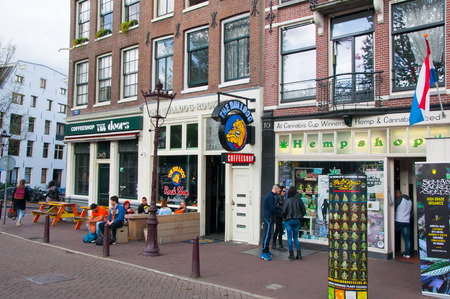 street drug: AMSTERDAMNETHERLANDS: Row of Amsterdam coffeeshops in down town on April 272015 the Netherlands. Editorial
