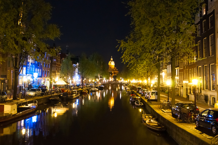 red light district: Red light district at night. Amsterdam, the Netherlands.