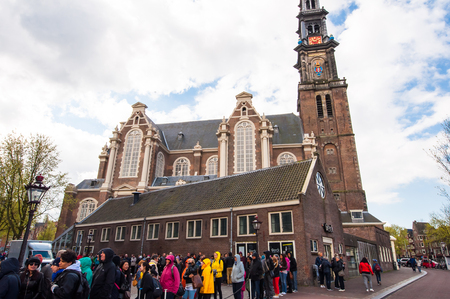 anne: AMSTERDAM-APRIL 30: Ticket-queueto the Anne Frank House Museum on April 30,2015.The Anne Frank House Museum is one of Amsterdams most popular and important museums. Editorial