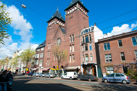 fatih: AMSTERDAM-APRIL 30: Amsterdam Fatih Mosque in the famous Jordaan area on April 30,2015, the Netherlands. The mosque is located in a former Catholic church in Jordaan district. Editorial