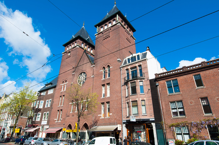 fatih: AMSTERDAM-APRIL 30: Fatih Mosque in the Rozengracht street on April 30,2015, the Netherlands. The mosque is located in a former Catholic church in Jordaan district. Editorial