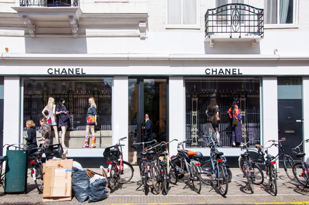 chanel: AMSTERDAM-APRIL 30: Chanel store on the P.C.Hooftstraat luxurious shopping street on April 30,2015 in Amsterdam. The French, privately held company was founded in 1909. Editorial